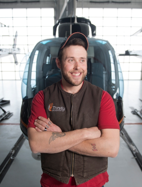 Peter Rice at the Summit Helicopters hangar.