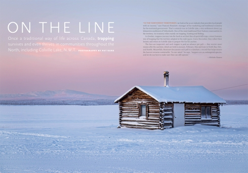 "Opening spread to ""On the Line"", Canadian Geographic Oct 2013."